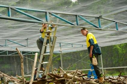 Andi montiert die Bewässerungsanlage.